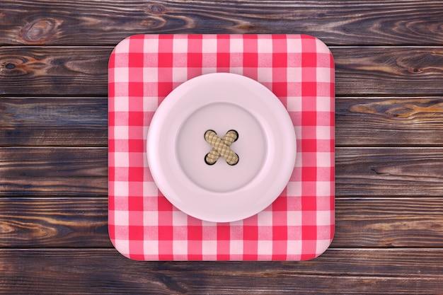Pulsante di cucito rosa sopra l'icona della scatola di tessuto in tartan rosa su un tavolo di legno della plancia. rendering 3d