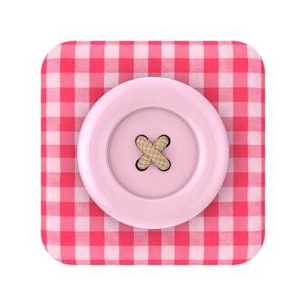 Bottone rosa per cucire sopra l'icona della scatola in tessuto tartan rosa su uno sfondo bianco 3d rendering