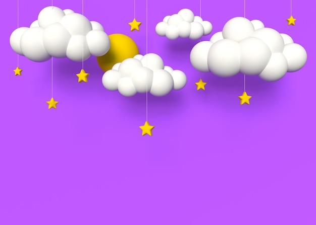 Cielo rosa decorazione di sfondo nuvole sole e stelle stile luminoso per bambini3d
