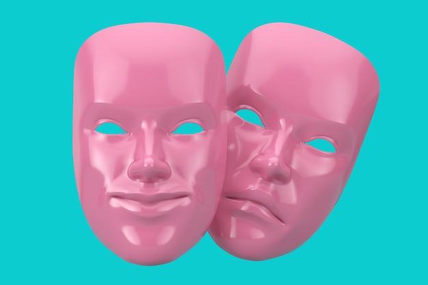 Commedia sorridente rosa e maschera teatrale grottesca drammatica drammatica in stile bicolore su sfondo blu. rendering 3d