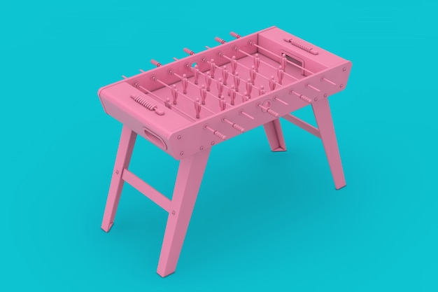 Rosa calcio balilla gioco mockup duotone su sfondo blu. rendering 3d