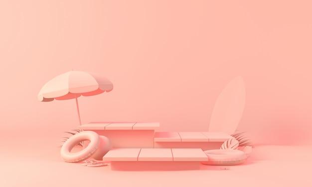 Foglie di palma rosa del podio della scatola di tema con il puntello di estate nel fondo