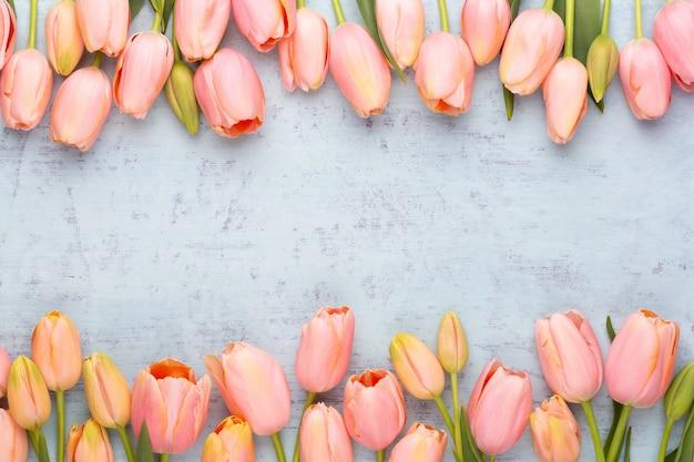 Tulipano rosa sullo sfondo in legno d'epoca. biglietto di auguri festa della mamma.