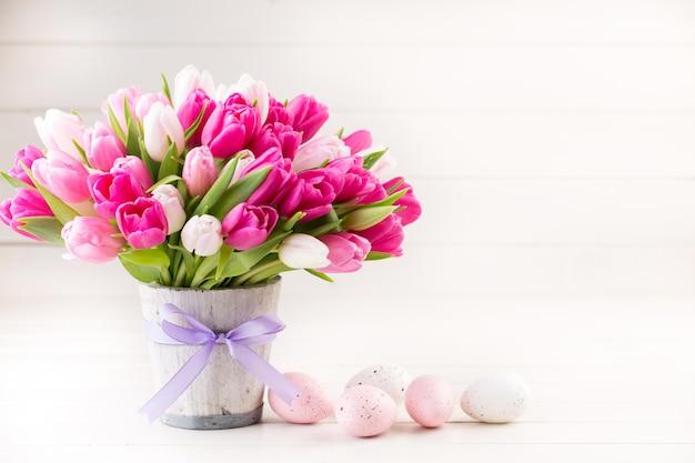 Tulipano rosa sul bianco. pasqua