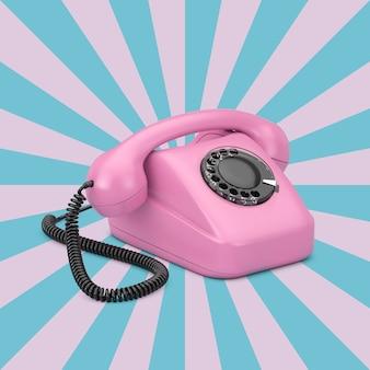 Telefono rotante in stile vintage rosa su sfondo rosa e blu a forma di stella vintage. rendering 3d