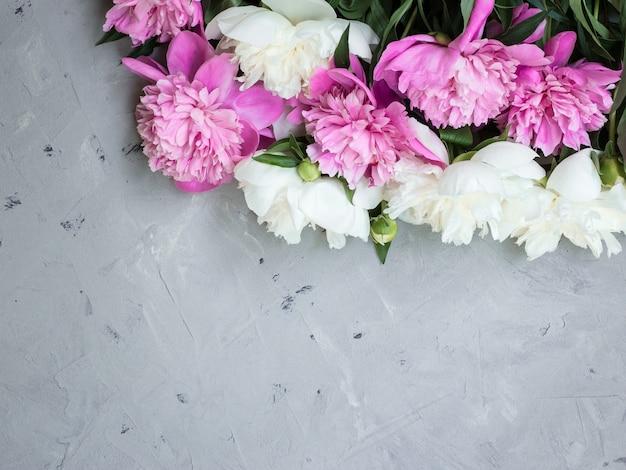 Peonie rosa e bianche su sfondo grigio pietra, copia spazio per la vista dall'alto del testo e stile piatto.