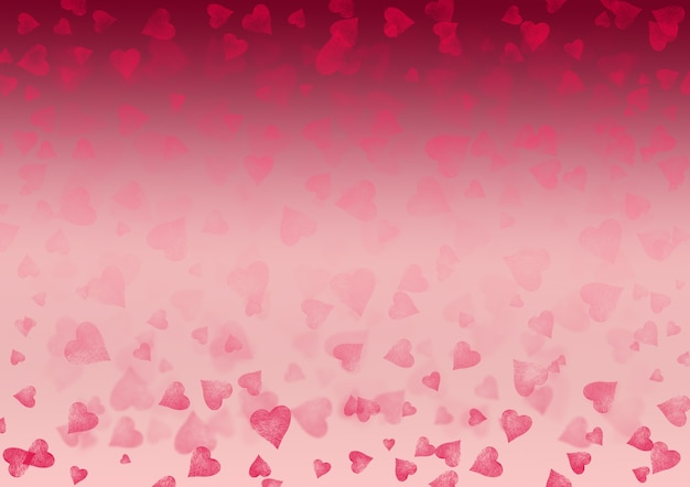 Fondo orizzontale di gradiente festivo astratto di san valentino rosso bianco rosa. texture motivo effetto bokeh con cuori. spazio per il testo.