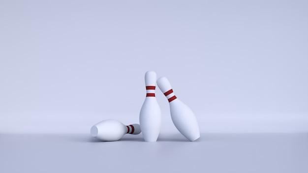 Birilli da bowling con sfondo bianco