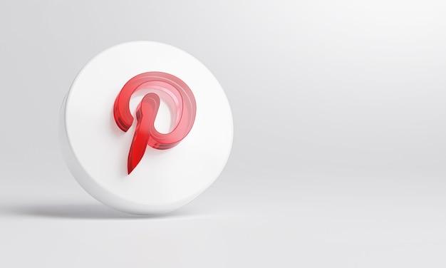 Pinterest icona in vetro acrilico su sfondo bianco rendering 3d.