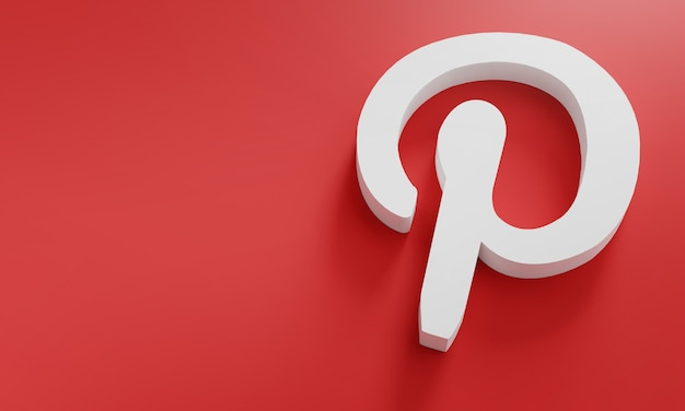 Logo pinterest modello minimo di design semplice. copia space 3d