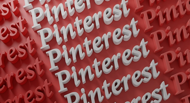 Pinterest tipografia multipla su muro rosso, rendering 3d