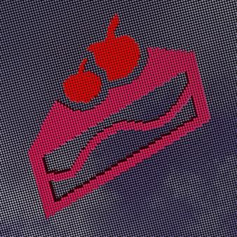 Fetta di torta in stile pixel art. rendering 3d