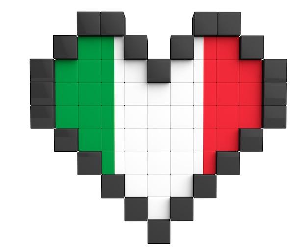 Pixel heart come bandiera dell'italia su sfondo bianco