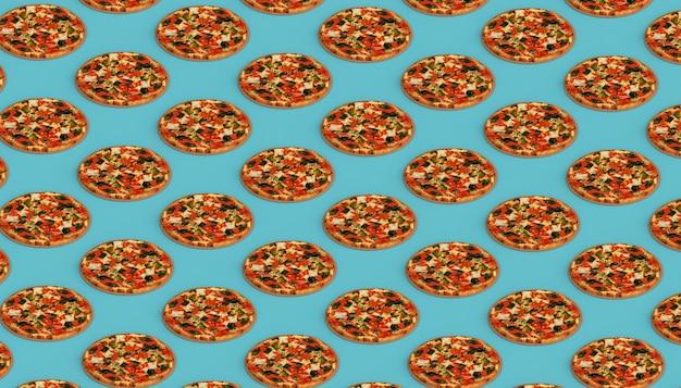 Sfondo di pizza. cibo spazzatura. illustrazione 3d.