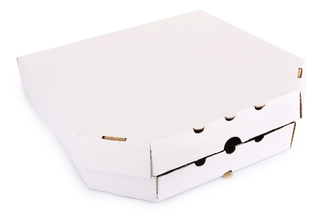 Scatole per pizza su bianco