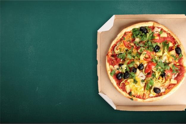 Fondo d'imballaggio della scatola nera di consegna della pizza cotto