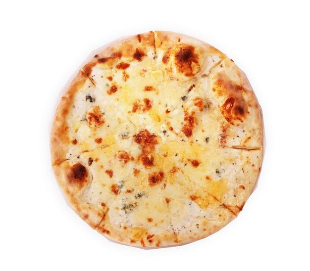 Pizza quattro formaggi vista dall'alto