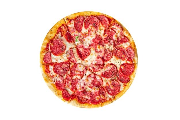 Pizza salame fast food peperoni salsiccia formaggio salsa di pomodoro pasta pasto fresco spuntino