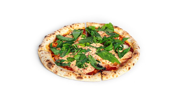 Pizza tonno con cipolla isolato su sfondo bianco. foto di alta qualità