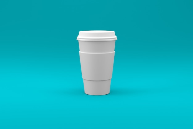 Tazza di caffè bianca normale isolata su superficie colorata