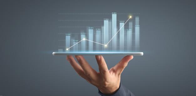 Pianifica la crescita del grafico e l'aumento degli indicatori positivi del grafico nella sua attività su tablet