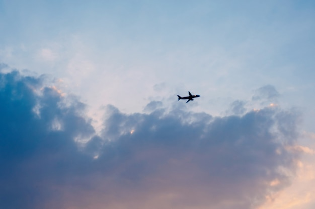 L'aereo è volato nel cielo dorato la sera.