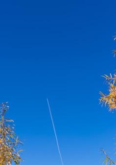 L'aereo vola nel cielo azzurro