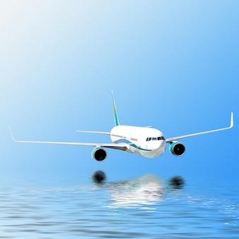 L'aereo vola nel cielo e il sole affiora