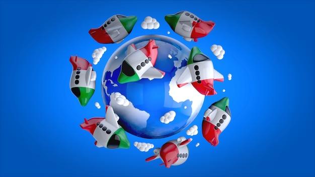 Aerei in tutto il mondo - illustrazione 3d