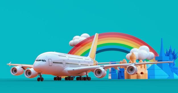 Aerei e attrazioni turistiche in modello 3d.