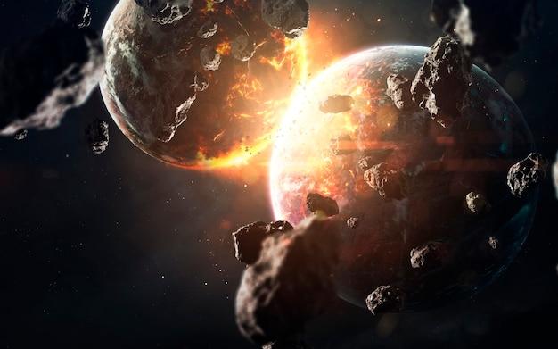 Cataclisma del pianeta. visualizzazione dello spazio di fantascienza. esplosione cosmica. elementi di questa immagine forniti dalla nasa