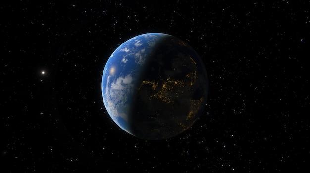 Tramonto all'alba del pianeta terra dallo spazio. profili il pianeta terra nei raggi del sole sullo sfondo delle stelle dello spazio e delle galassie 3d render