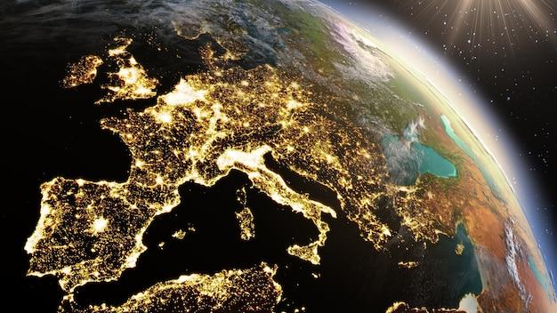 Zona del pianeta terra europa. elementi di questa immagine forniti dalla nasa