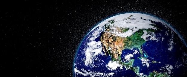Vista del globo del pianeta terra dallo spazio che mostra la superficie terrestre realistica e la mappa del mondo