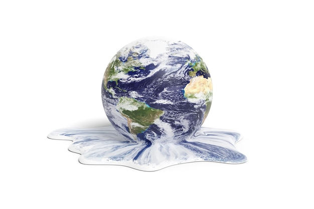 Fusione del pianeta terra isolato su priorità bassa bianca. concetto di riscaldamento globale. illustrazione 3d.