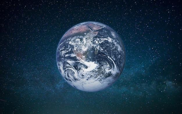 Pianeta terra nello spazio aperto su uno sfondo di galassia