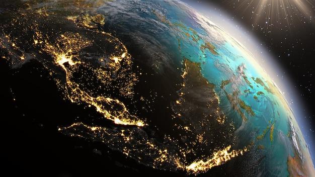 Zona del pianeta terra sud-est asiatico. elementi di questa immagine forniti dalla nasa