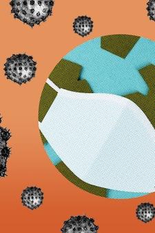 Il pianeta terra indossa una maschera facciale durante la pandemia di coronavirus