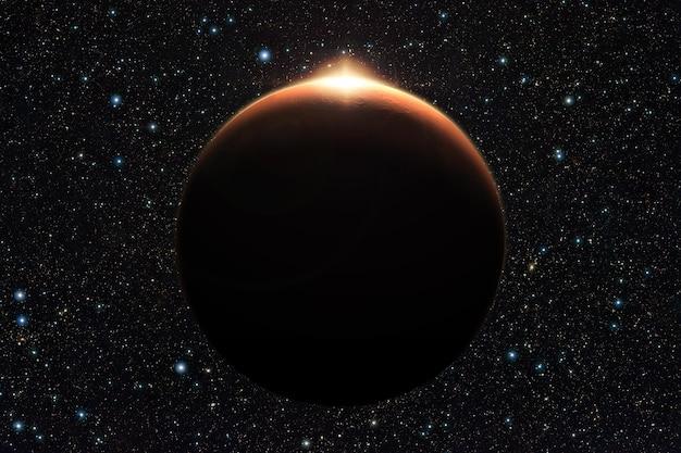 Pianeta marte con alba nello spazio (elementi di questa immagine forniti dalla nasa)