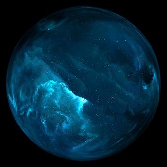 Pianeta nello spazio, satellite di una stella. pianeta super-terra, esopianeta realistico adatto alla colonizzazione, pianeta simile alla terra nello spazio lontano, rendering 3d