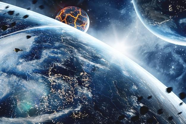 Pianeta con enormi crepe con lava nello spazio