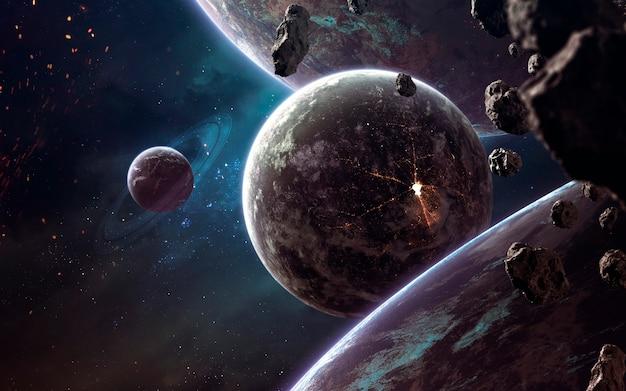 Pianeti, stelle luminose e asteroidi. immagine dello spazio profondo, fantasy di fantascienza in alta risoluzione ideale per carta da parati e stampa. elementi di questa immagine forniti dalla nasa