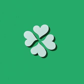 Set creativo di foglie di piante da petali di trifoglio verde di carta bianca fatti a mano