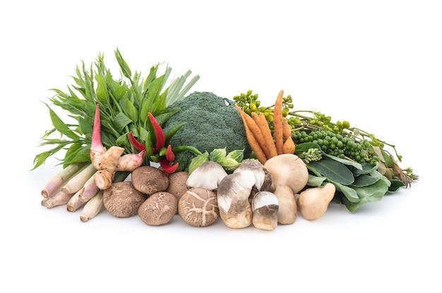 Piante, verdure ed erbe antivirali e immunità come funghi, shiitake, senna siamea, gymnema inodorum e più isolati su bianco.