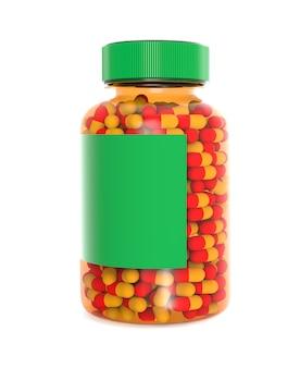 Bottiglia di plastica piena di pillole isolato su bianco