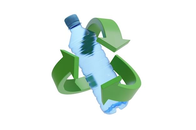 Bottiglia di plastica circondata dal simbolo del riciclo.