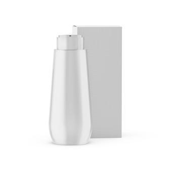Bottiglia di plastica con mockup di scatola