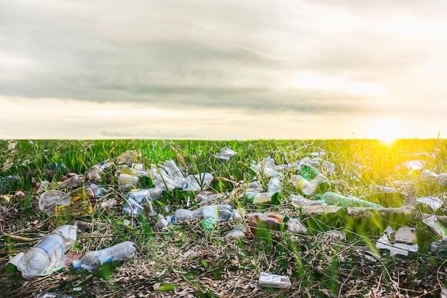 Bottiglie di plastica nel campo. inquinamento ambientale. disastro ecologico. idea di riciclaggio. umano che danneggia la natura.