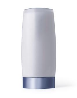 Bottiglia cosmetica di plastica isolata su bianco