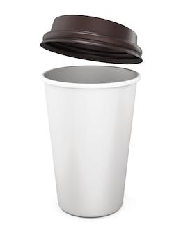 Tazza di caffè di plastica con un coperchio aperto su un bianco. rendering 3d.